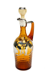 Continental Silver Overlay Amber Glass Decanter. Leaf And Floral Designs