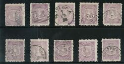 Guatemala 5 Used Fine - Very Fine Lot Of Ten Singles Most With Cds Cancels