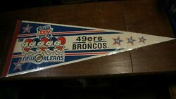 Wincraft 1989 Super Bowl Xxiv Pennant 49ers Vs Broncos Snoopy New Orleans 31