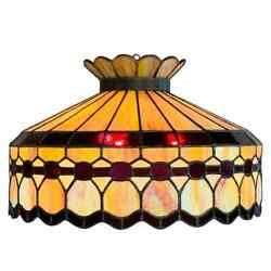 Leaded Glass And Patinated Bronze Pendant Or Chandelier In The Manner Of Tiffanys