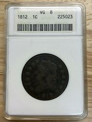 1812 Classic Head Large Cent Anacs Vg8, Free Shipping