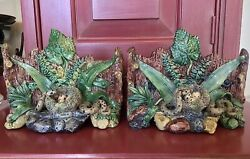 Palissy French Majolica Jardinieres W Snake And Nest Of Eggs 2 C.1880