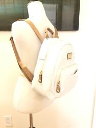 New Calvin Klein Classic Signature Backpack Off White With Gold $75.00