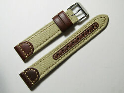 20mm Hadley-roma Ms868 Mens Khaki Tan Canvas And Leather Watch Band Strap