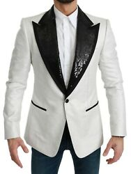 Dolce And Gabbana Blazer White Sequined Slim Fit Jacket It52 / Us42 / L Rrp 3600