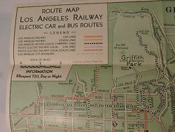 1935 Official Los Angeles Railway Bus Trolley Route Map Yellow Cars California