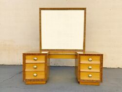 Paul Frankl For Brown Saltman Oak And Combed Wood Vanity, Free U.s. Shipping