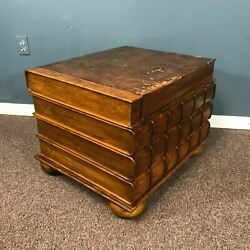 Great 19th Century English Leather Book Motif Top Compartment Trunk Side Table