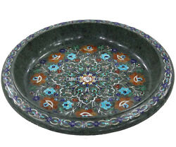 14 Green Marble Fruit Bowl Semi Inlay Marquetry Mosaic Floral Kitchen Deco H540
