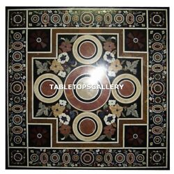 48x48 Marble Top Dining Table Pietra Dura Inlay Work Antique Furniture H4332