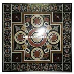 4.5and039x4.5and039 Marble Dining Table Top Collectible Inlay Arts Marquetry Decor H4332a