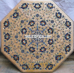 Marble Lapis Floral Stone Inlay Dining Table Top Fancy Outdoor Garden Dec H4038a