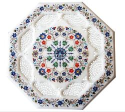 1.5and039 Marble Coffee Table Top Multi Mosaic Floral Grill Inlay Hallway Decors W042