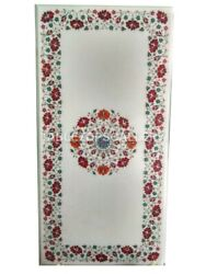 4and039x2and039 Marble Dining Table Top Carnelian Mosaic Floral Inlay Home Decor Gift W039