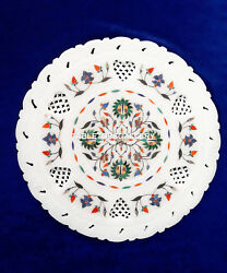 Micro Mosaic Stone Marble Serving Plate Semi Precious Inlay Collectible H4089