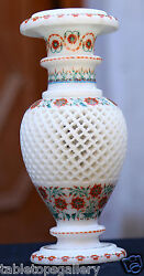 Marvelous White Marble Flower Vase Semi Marquetry Inlay Hallway Arts Gifts H1956