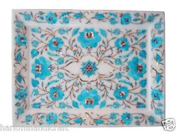 9x12 Marble Serving Tray Inlay Turquoise Mosaic Floral Arts Decor Gifts H1404