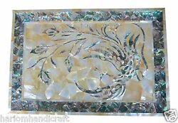 12x18 Marble Serving Tray Plate Real Abalone Gems Inlaid Kitchen Gifts H1419