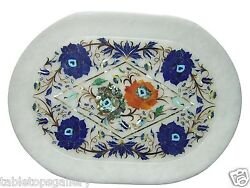 12x18 Marble Serving Tray Lapis Stone Inlaid Micro Mosaic Serving Plate H1161