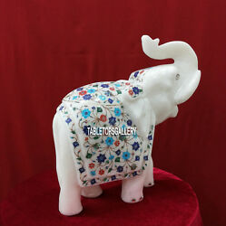 14'' Marble White Elephant Trunk Up Lapis Floral Hand Carved Stone Decor H3772