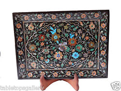 Black Marble Serving Tray Plate Coral Inlay Mosaic Floral Art Dining Decor H1319