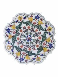 24 White Marble Decorative Plate Inlay Marquetry Italian Arts Decor Gifts H3053