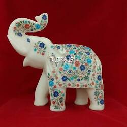 13'' Marble White Elephant Figurine Micro Multi Floral Art Good Luck Gifts H3764