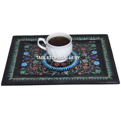 12x9 Black Marble Dinnerware Tray Guest Serving Multi Floral Inlaid Gifts E92