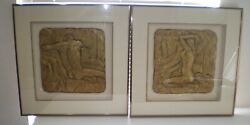F Mclain Signed Harris G Strong Figural Sculptural Plaque Male Female Nude Naked