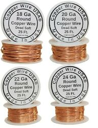 Copper Wire Dead Soft for Jewelry Making 182022 and 24Ga 25 Ft Spool Each $7.99