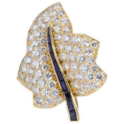 2.10ct Natural Round Diamond 14k Solid Yellow Gold Sapphire Wedding Brooch Pin