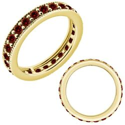 1.25 Carat Real Red Diamond Styled Beaded Eternity Band Ring 14k Yellow Gold