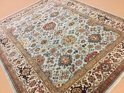 8andrsquo X 10andrsquo Light Blue Beige Geometric All-over Hand Knotted Wool Oriental Rug