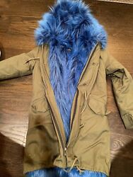 Cool Army Green And Cookie Monster Blue Faux Fur Lined Parka Jacket Coat Size S