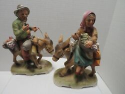Vintage Norleans Figurines Set Of 2 Man And Woman On Donkey 1950and039s Japan