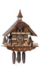 Cuckoo Clock Black Forest House With Moving Dog And Mill Wheel Ho 86742t New