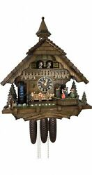 Cuckoo Clock Black Forest House Turning Mill-wheel With Flowing.. Ho 86200t New