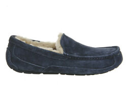 Ugg Mens Ascot Suede Slippers In Navy Uk8 Us9 Eu42 Brand New In Box