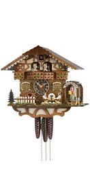 Cuckoo Clock Black Forest House With Moving Beer Drinkers A.. Ho 6764t Zenzi New