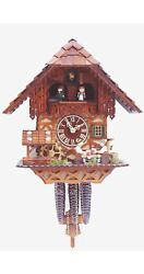 Cuckoo Clock Black Forest House With Moving Beer Drinker And Mill .. Rh 2410 New
