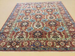 8andrsquo X 10andrsquo Rust Light Blue Fine Geometric All-over Hand Knotted Oriental Rug