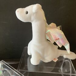 Brand New Case-kept Magic The White Dragon Ty Beanie Baby 1995 Iridescent Wings