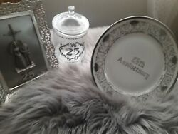 Vintage 25th Wedding Anniversary Silver Set Party Apothecary Jar, Frame, Plate