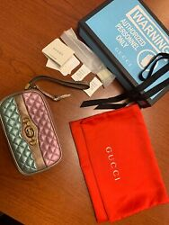 Laminated Quilted Leather Metallic Iphone Wristlet Purse Bag Pink/teal Wow