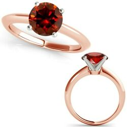 3 Carat Real Fancy Red Diamond 14k Rose Pink Gold Solitaire Engagement Ring