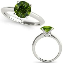 2.50 Carat Real Fancy Green Diamond 14k White Gold Solitaire Engagement Ring