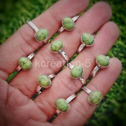 New 100 Pcs. Green Turquoise Gemstone 925 Silver Plated Rings Jewelry Bulk Lot