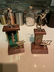 Vintage 1977 Bowling Trophies-1st Place And High Game-one Owner-wood-fabulous