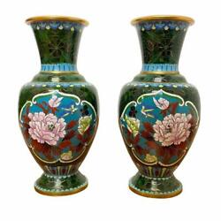 Antique Pair Of Chinese Gold Tone Green Cloisonne Floral Flower Design Vase