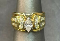 Vintage 18k Yellow Gold .5ct Trillion Center 1cttw Si/i G-h Color Ring,size 6.5